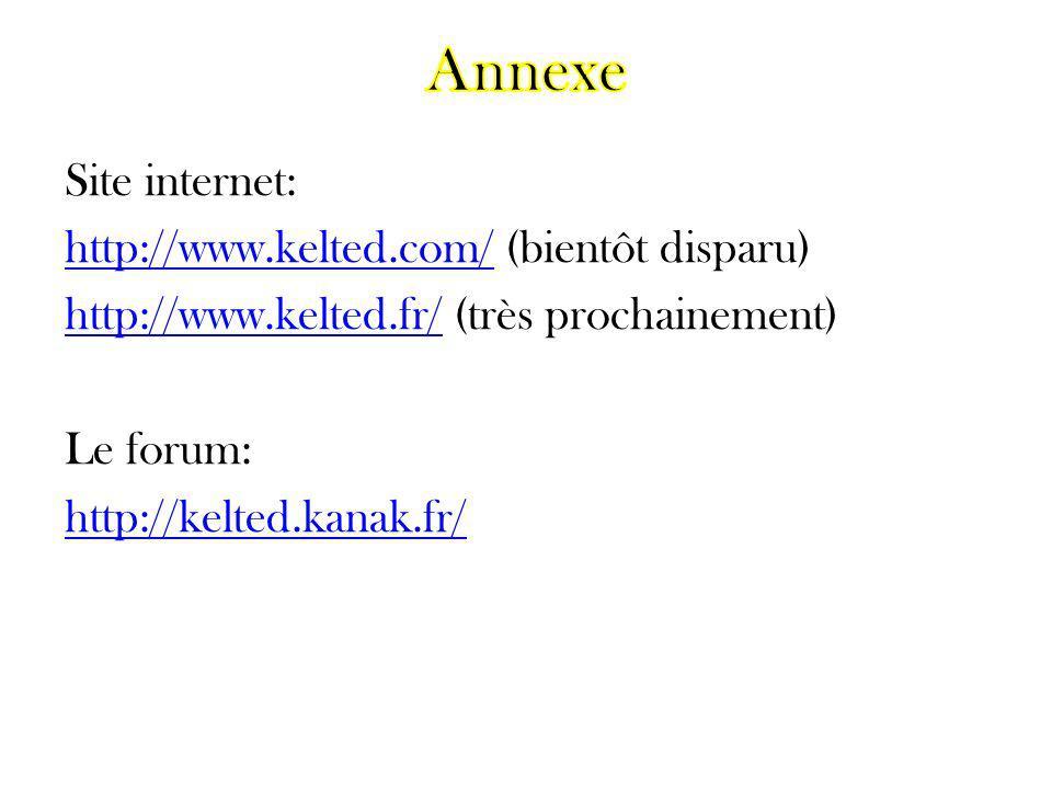 Annexe Site internet: http://www.kelted.com/ (bientôt disparu) http://www.kelted.fr/ (très prochainement) Le forum: http://kelted.kanak.fr/