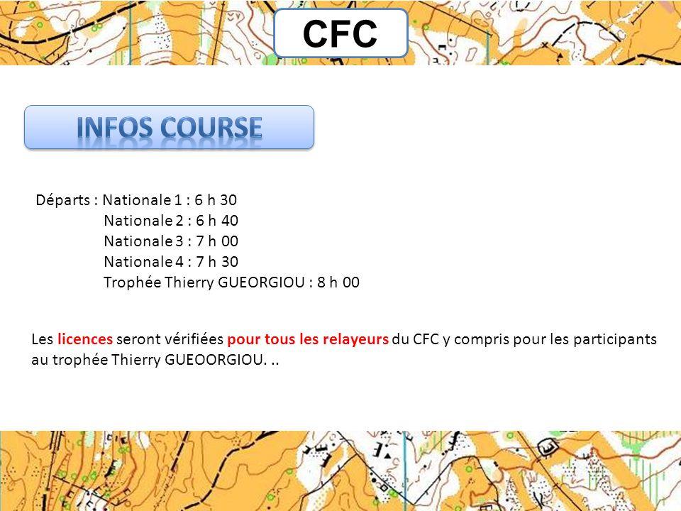 CFC Infos Course Départs : Nationale 1 : 6 h 30 Nationale 2 : 6 h 40