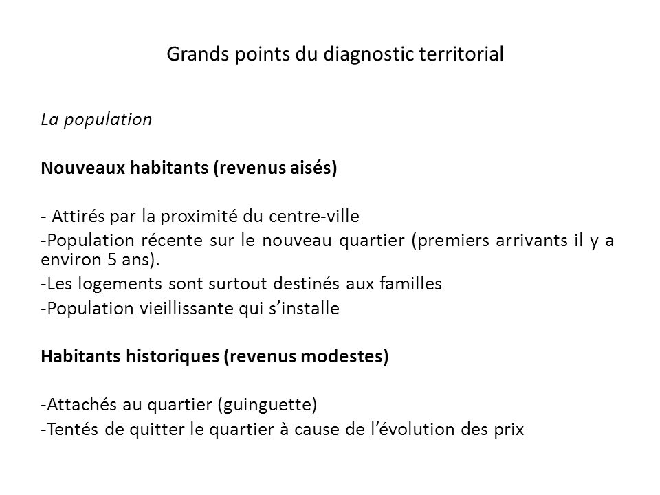 Grands points du diagnostic territorial