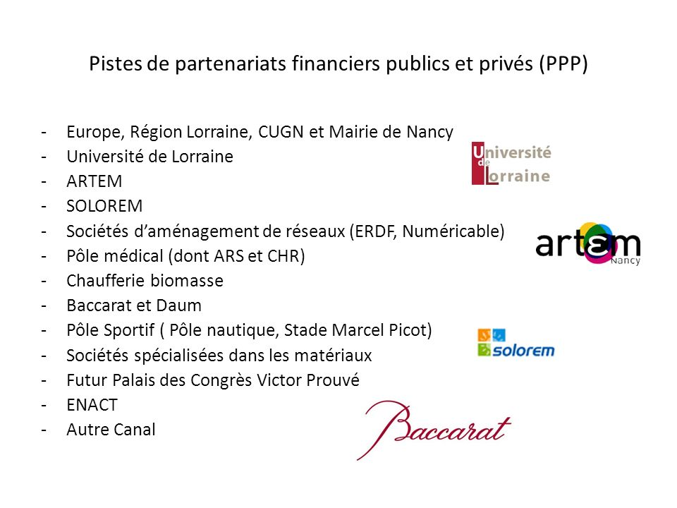 Pistes de partenariats financiers publics et privés (PPP)