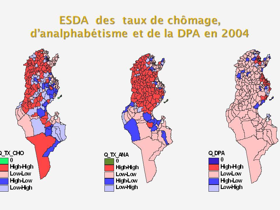 ESDA des taux de chômage, d'analphabétisme et de la DPA en 2004