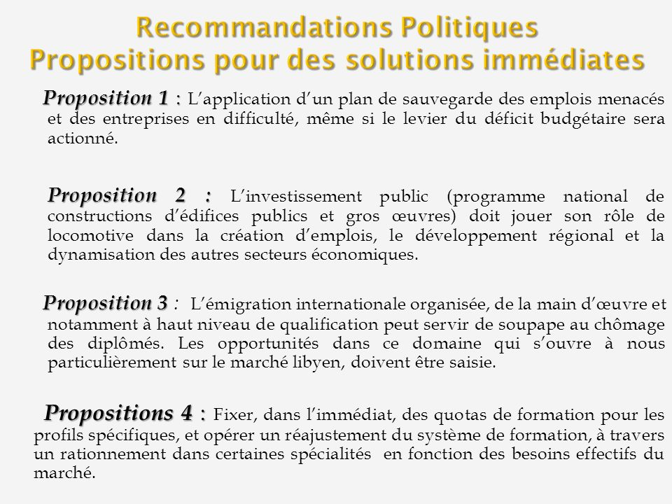 Recommandations Politiques Propositions pour des solutions immédiates