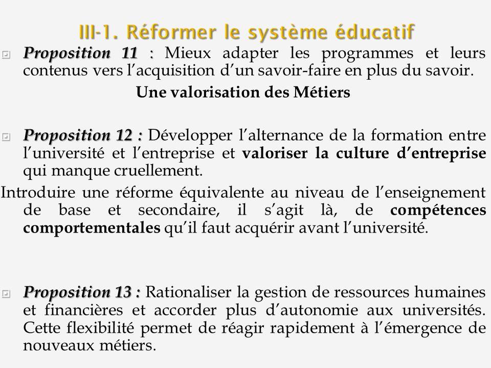 III-1. Réformer le système éducatif