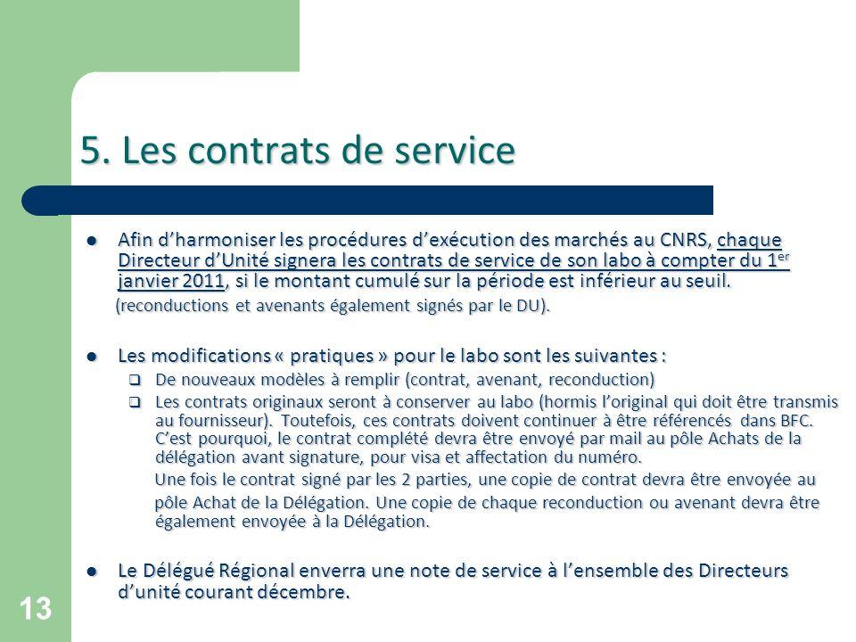5. Les contrats de service