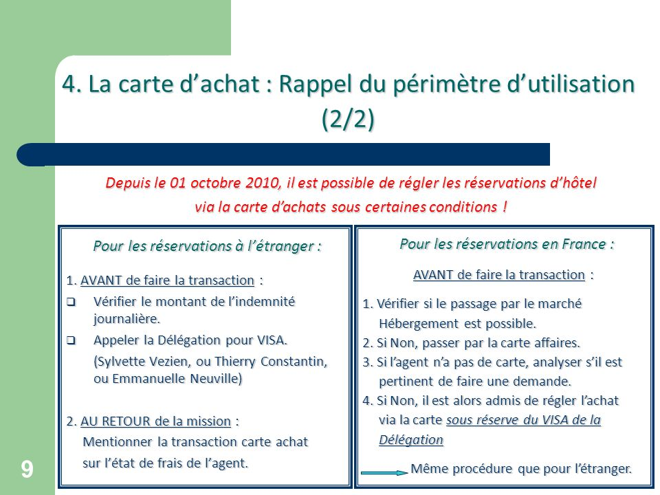 4. La carte d'achat : Rappel du périmètre d'utilisation (2/2)