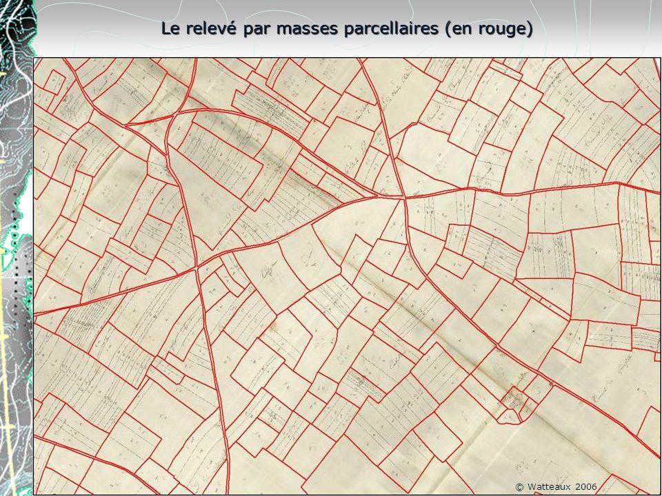 Le relevé par masses parcellaires (en rouge)