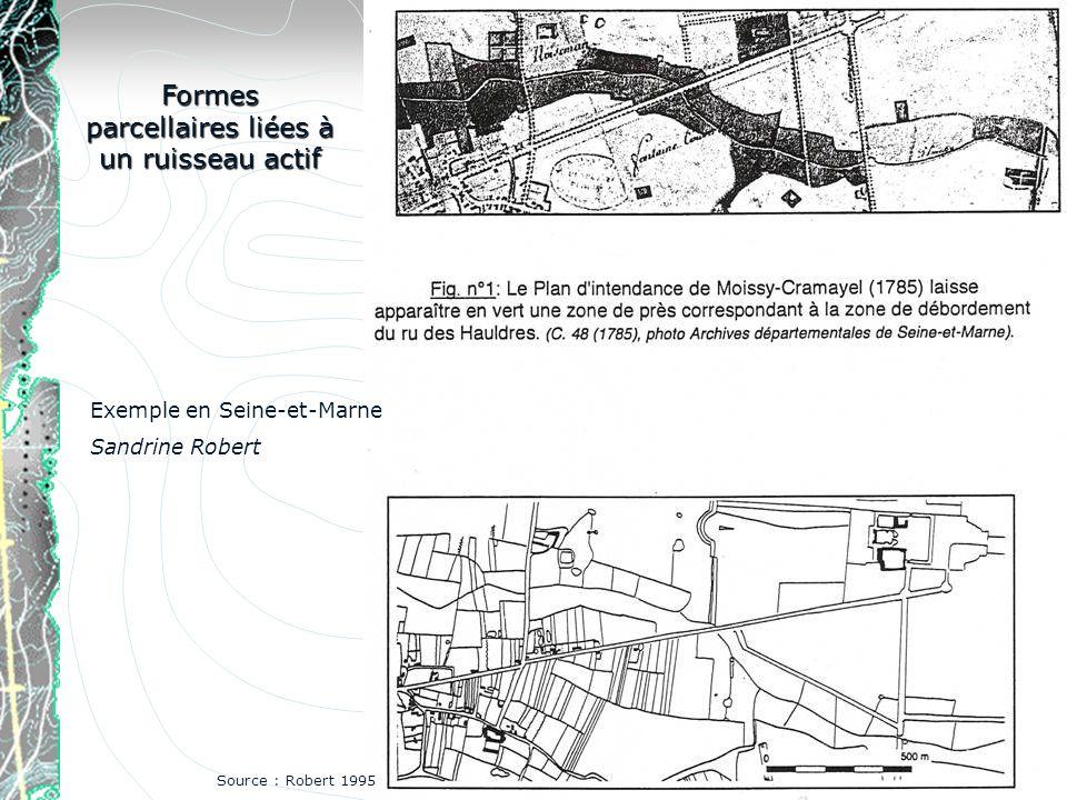 Formes parcellaires liées à un ruisseau actif