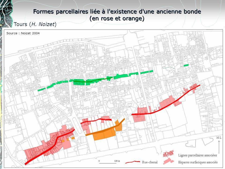 Formes parcellaires liée à l existence d une ancienne bonde (en rose et orange)