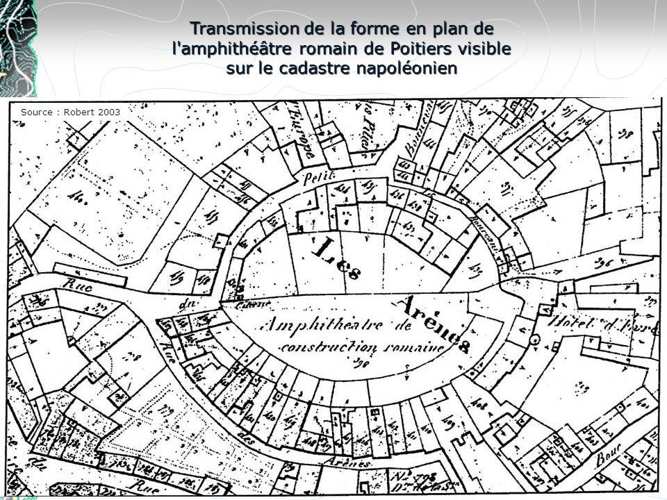 Transmission de la forme en plan de l amphithéâtre romain de Poitiers visible sur le cadastre napoléonien