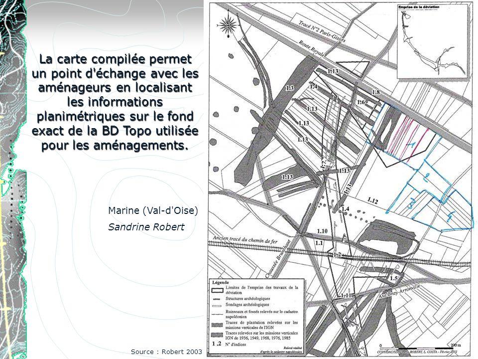 La carte compilée permet un point d échange avec les aménageurs en localisant les informations planimétriques sur le fond exact de la BD Topo utilisée pour les aménagements.