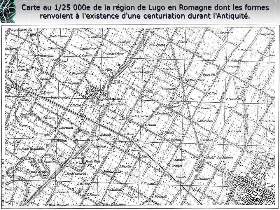Carte au 1/25 000e de la région de Lugo en Romagne dont les formes renvoient à l existence d une centuriation durant l Antiquité.