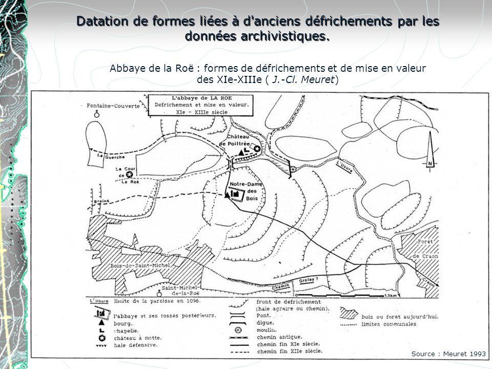 Datation de formes liées à d anciens défrichements par les données archivistiques.