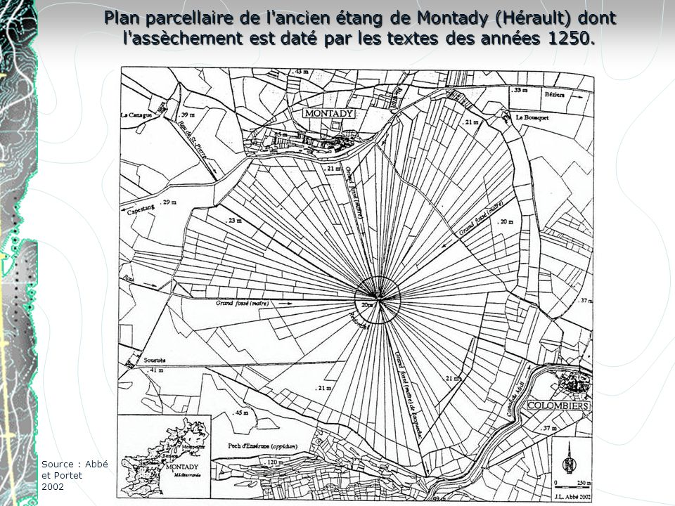 Plan parcellaire de l ancien étang de Montady (Hérault) dont l assèchement est daté par les textes des années 1250.