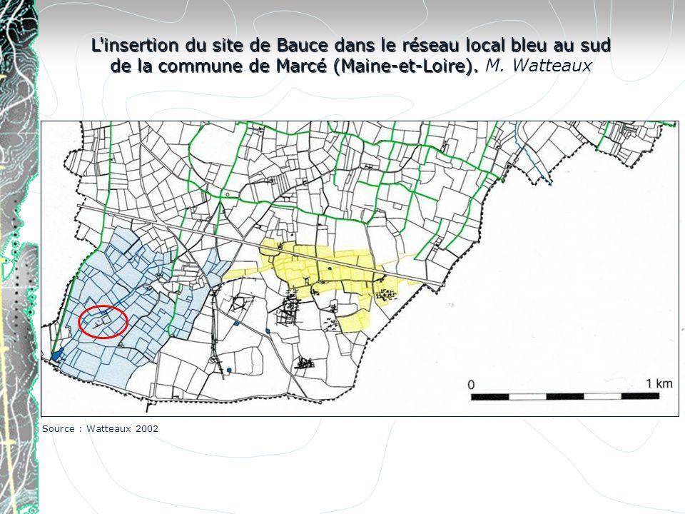 L insertion du site de Bauce dans le réseau local bleu au sud de la commune de Marcé (Maine-et-Loire). M. Watteaux