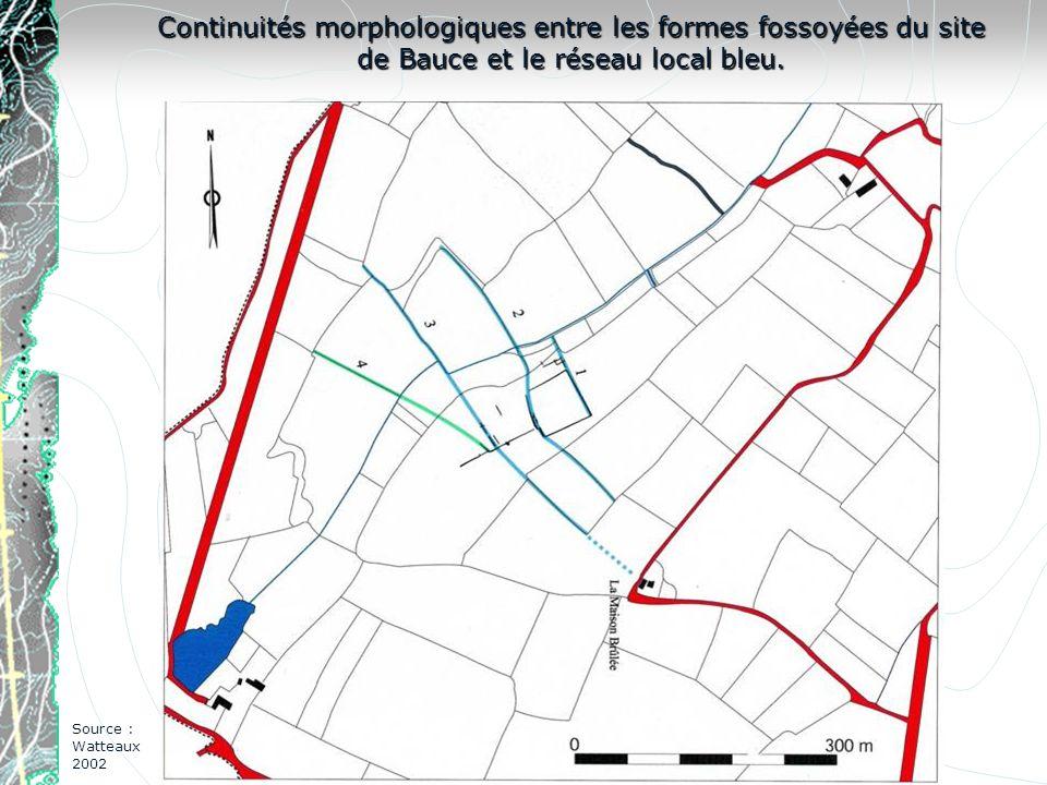 Continuités morphologiques entre les formes fossoyées du site de Bauce et le réseau local bleu.