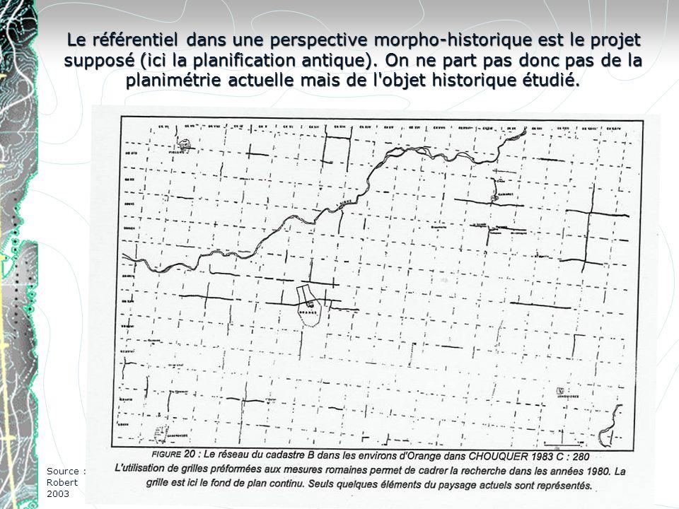 Le référentiel dans une perspective morpho-historique est le projet supposé (ici la planification antique). On ne part pas donc pas de la planimétrie actuelle mais de l objet historique étudié.