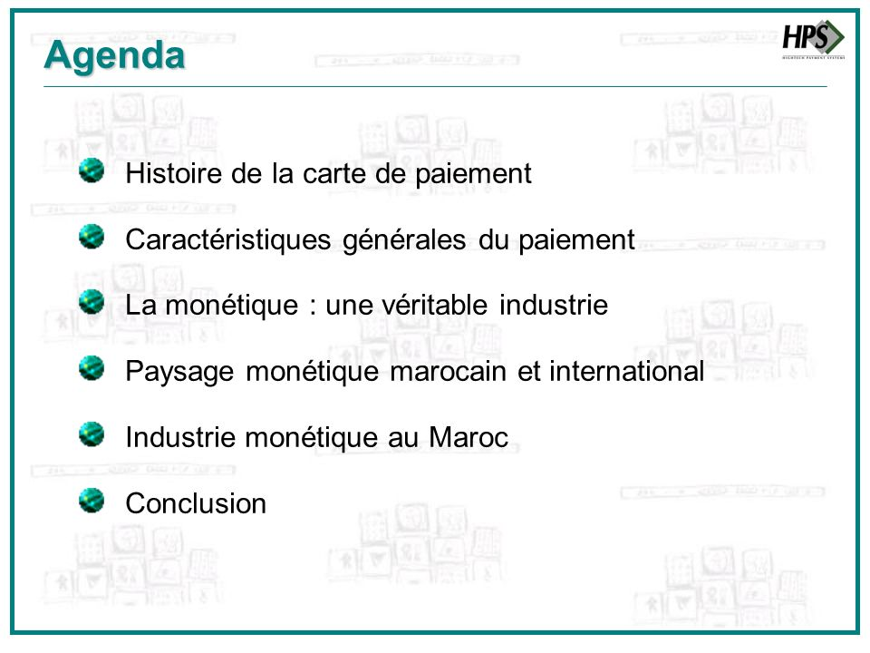 Agenda Histoire de la carte de paiement