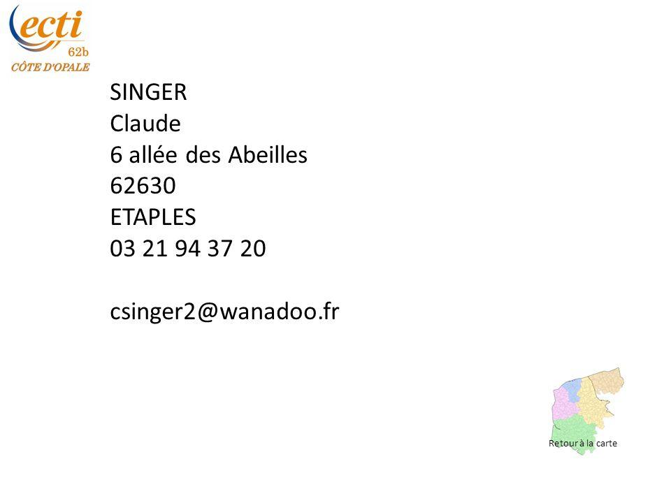 SINGER Claude 6 allée des Abeilles 62630 ETAPLES 03 21 94 37 20