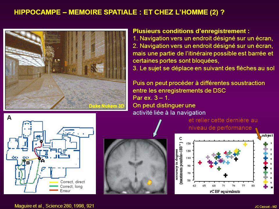 HIPPOCAMPE – MEMOIRE SPATIALE : ET CHEZ L'HOMME (2)