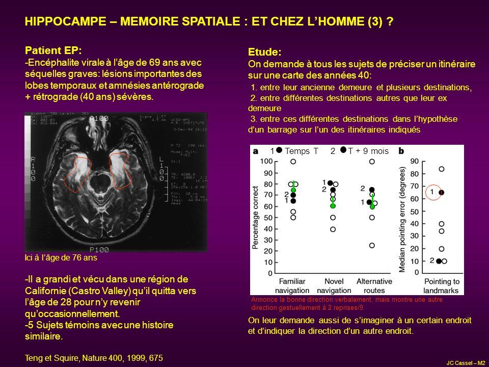 HIPPOCAMPE – MEMOIRE SPATIALE : ET CHEZ L'HOMME (3)
