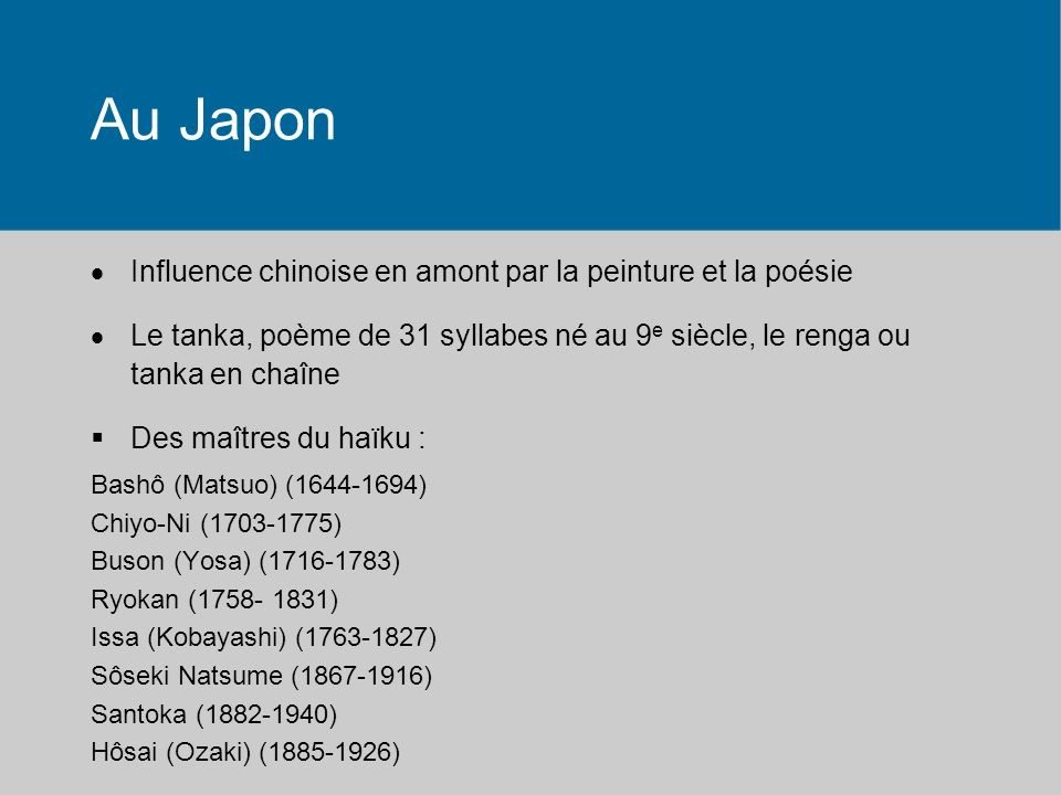 Au Japon Influence chinoise en amont par la peinture et la poésie