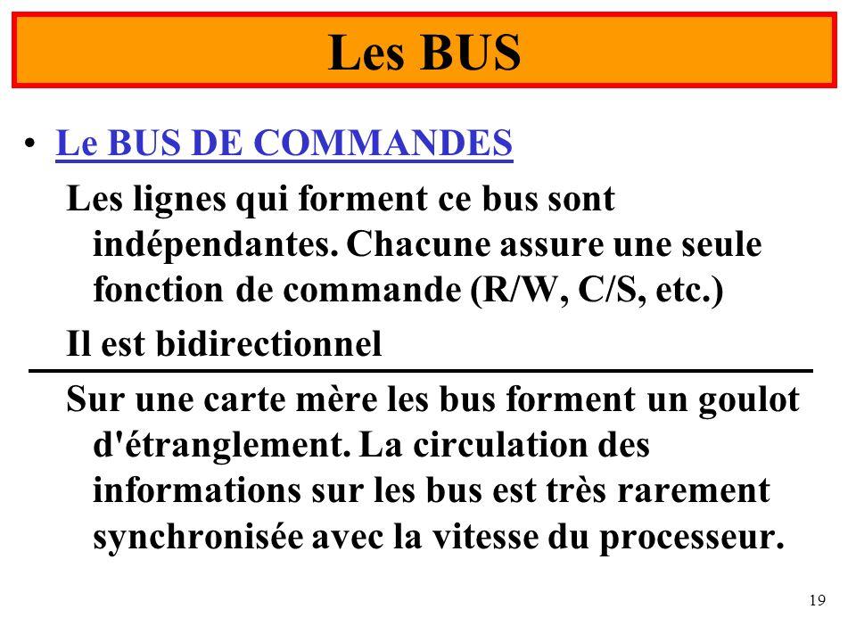 Les BUS Le BUS DE COMMANDES