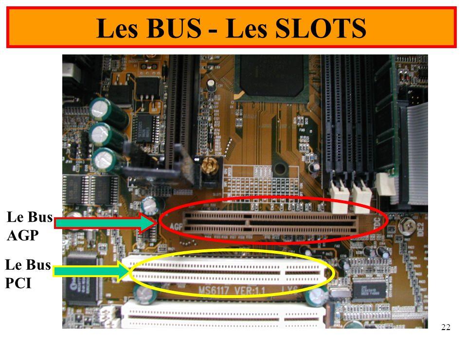 Les BUS - Les SLOTS Le Bus AGP Le Bus PCI