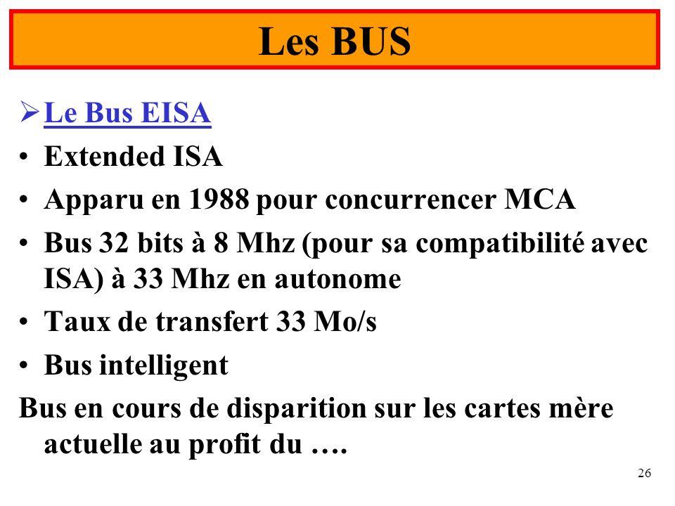 Les BUS Le Bus EISA Extended ISA Apparu en 1988 pour concurrencer MCA