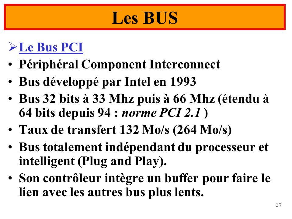 Les BUS Le Bus PCI Périphéral Component Interconnect