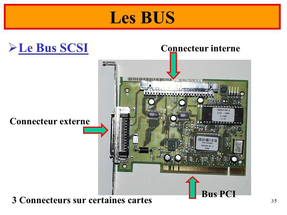 Les BUS Le Bus SCSI Connecteur interne Connecteur externe Bus PCI