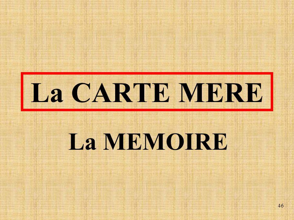 La CARTE MERE La MEMOIRE