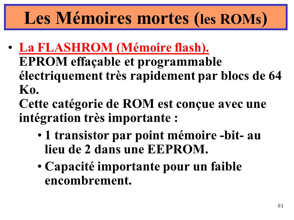 Les Mémoires mortes (les ROMs)