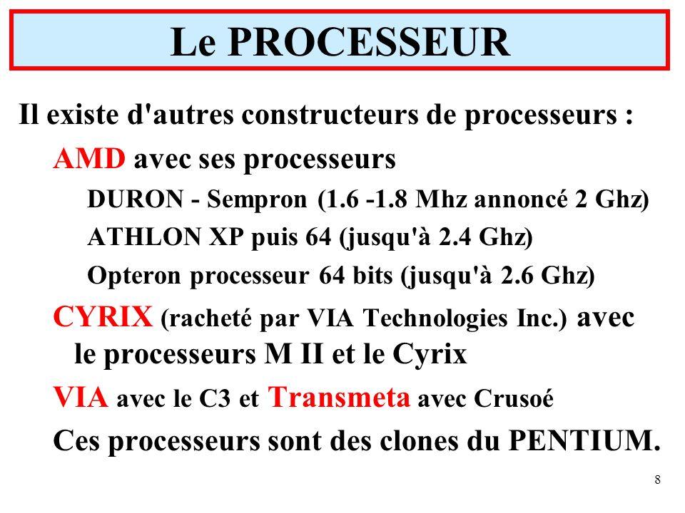 Le PROCESSEUR Il existe d autres constructeurs de processeurs :
