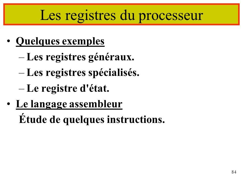 Les registres du processeur