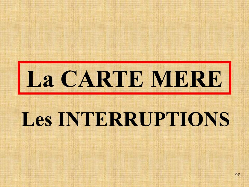 La CARTE MERE Les INTERRUPTIONS