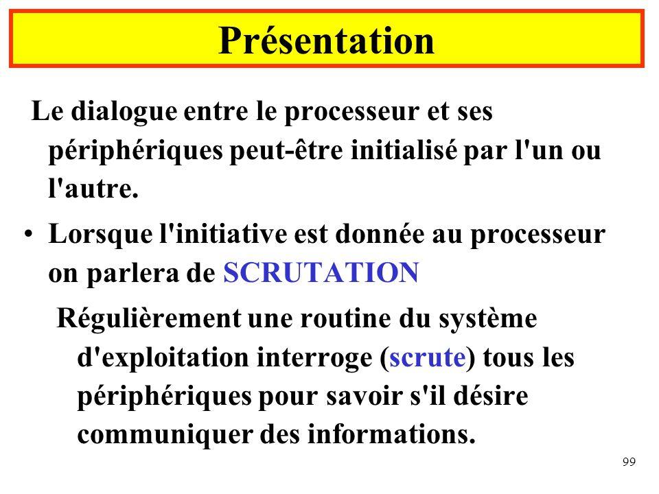 Présentation Le dialogue entre le processeur et ses périphériques peut-être initialisé par l un ou l autre.