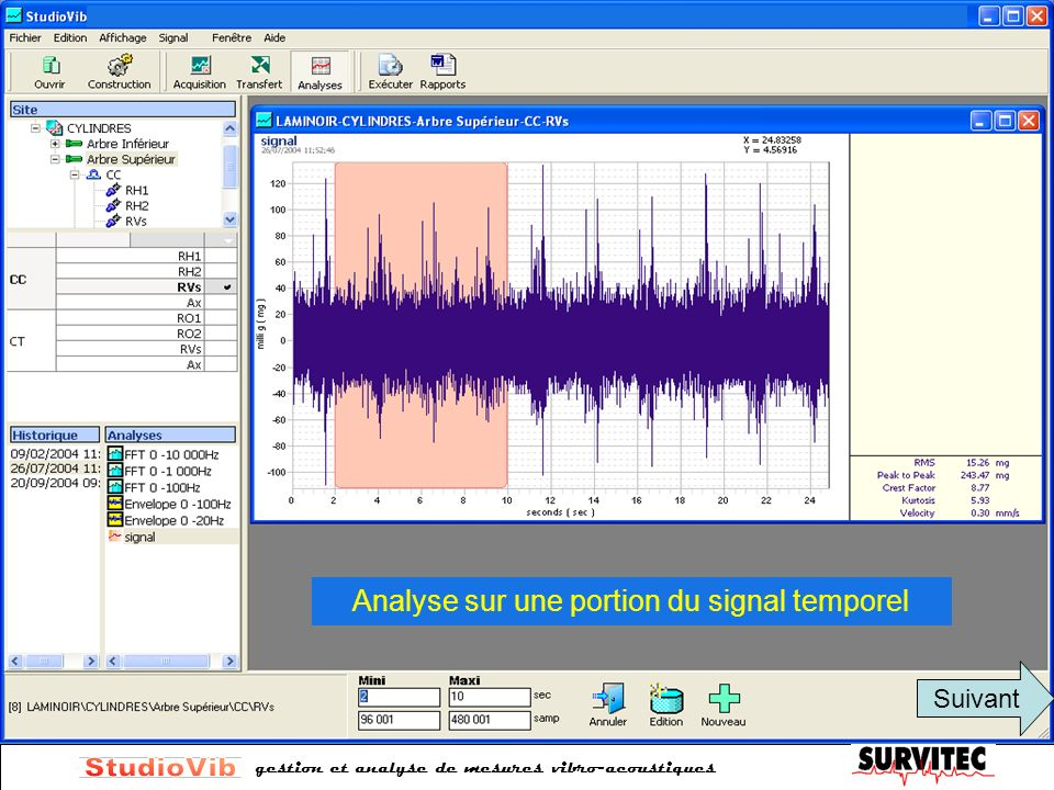 Analyse sur une portion du signal temporel