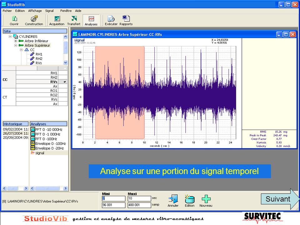 Analyse sur une portion du signal temporel