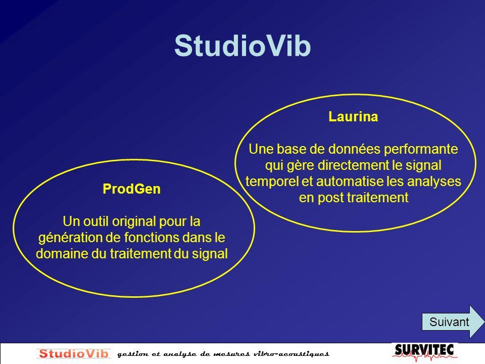 StudioVib Laurina. Une base de données performante qui gère directement le signal temporel et automatise les analyses en post traitement.