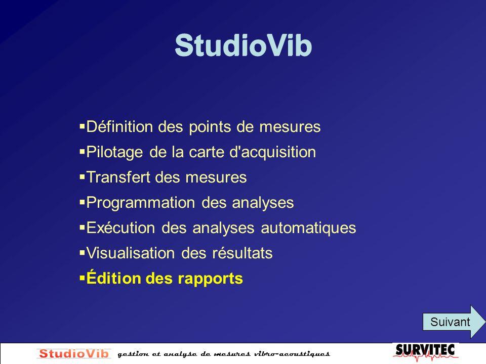 StudioVib StudioVib Définition des points de mesures