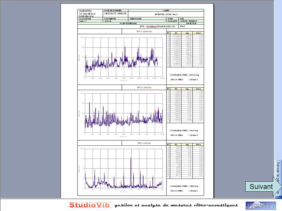 StudioVib Rapports automatisés Plusieurs formats disponibles Suivant