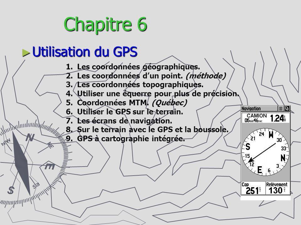 Chapitre 6 Utilisation du GPS Les coordonnées géographiques.