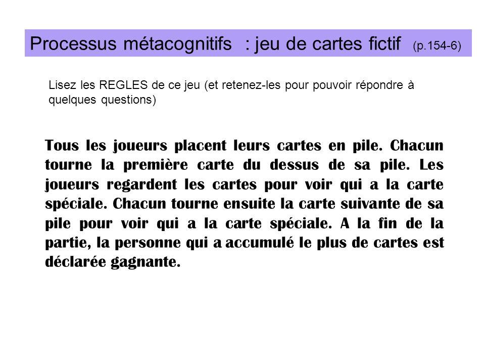 Processus métacognitifs : jeu de cartes fictif (p.154-6)