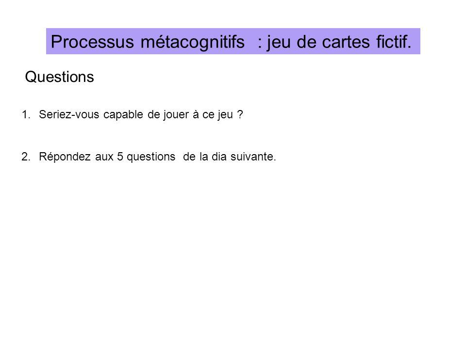 Processus métacognitifs : jeu de cartes fictif.