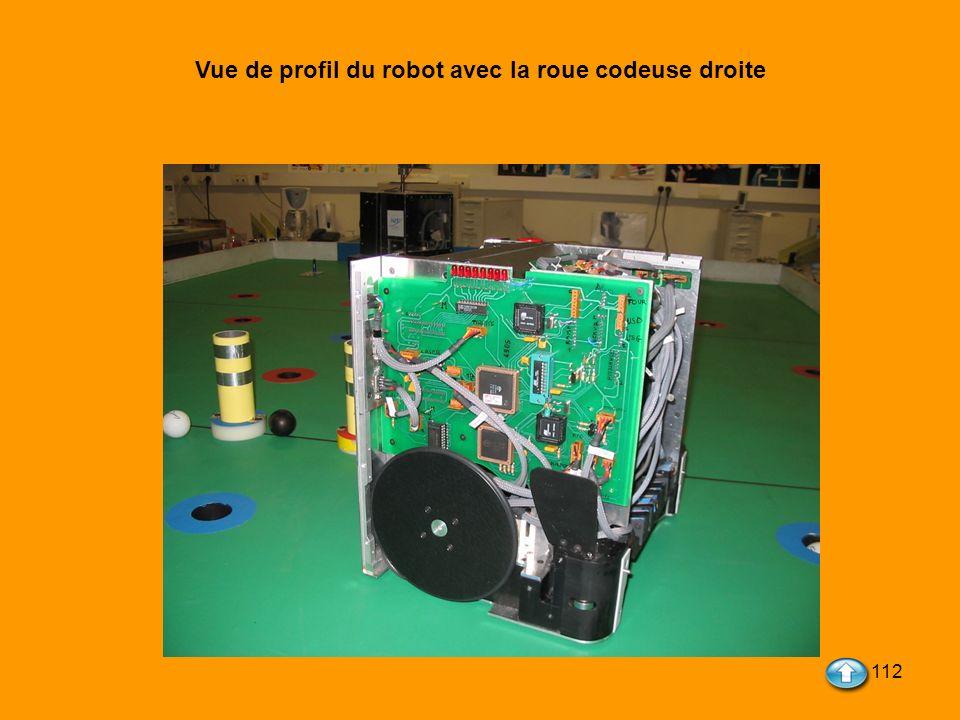 Vue de profil du robot avec la roue codeuse droite