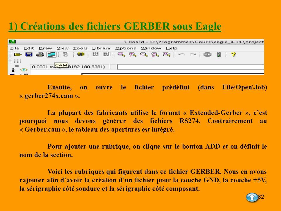 1) Créations des fichiers GERBER sous Eagle
