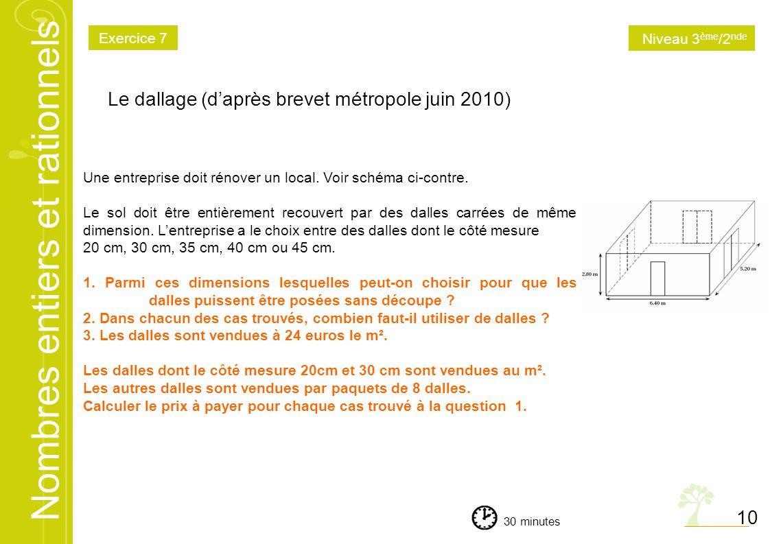 Le dallage (d'après brevet métropole juin 2010)