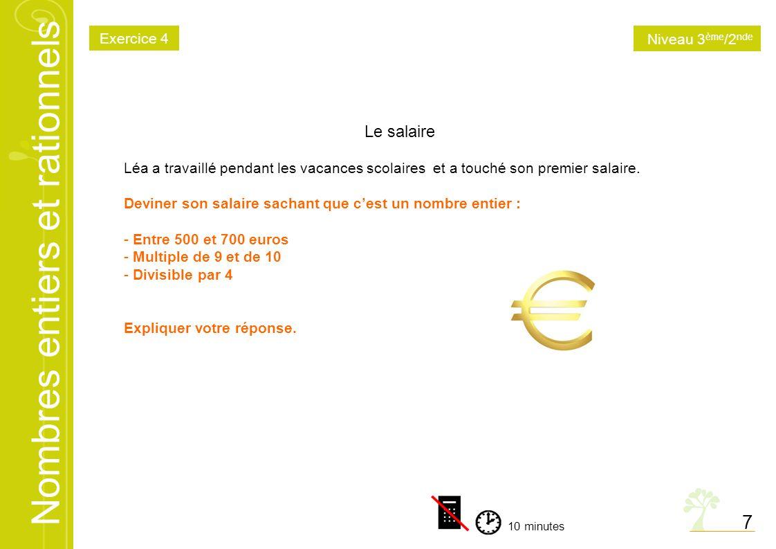 7 Le salaire Exercice 4 Niveau 3ème/2nde