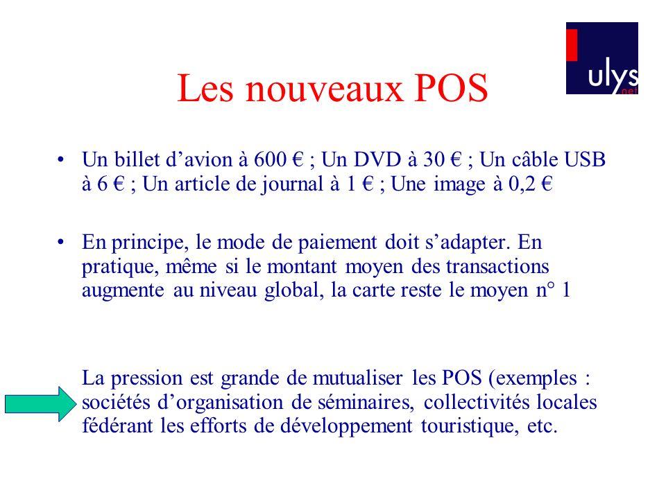 Les nouveaux POS Un billet d'avion à 600 € ; Un DVD à 30 € ; Un câble USB à 6 € ; Un article de journal à 1 € ; Une image à 0,2 €