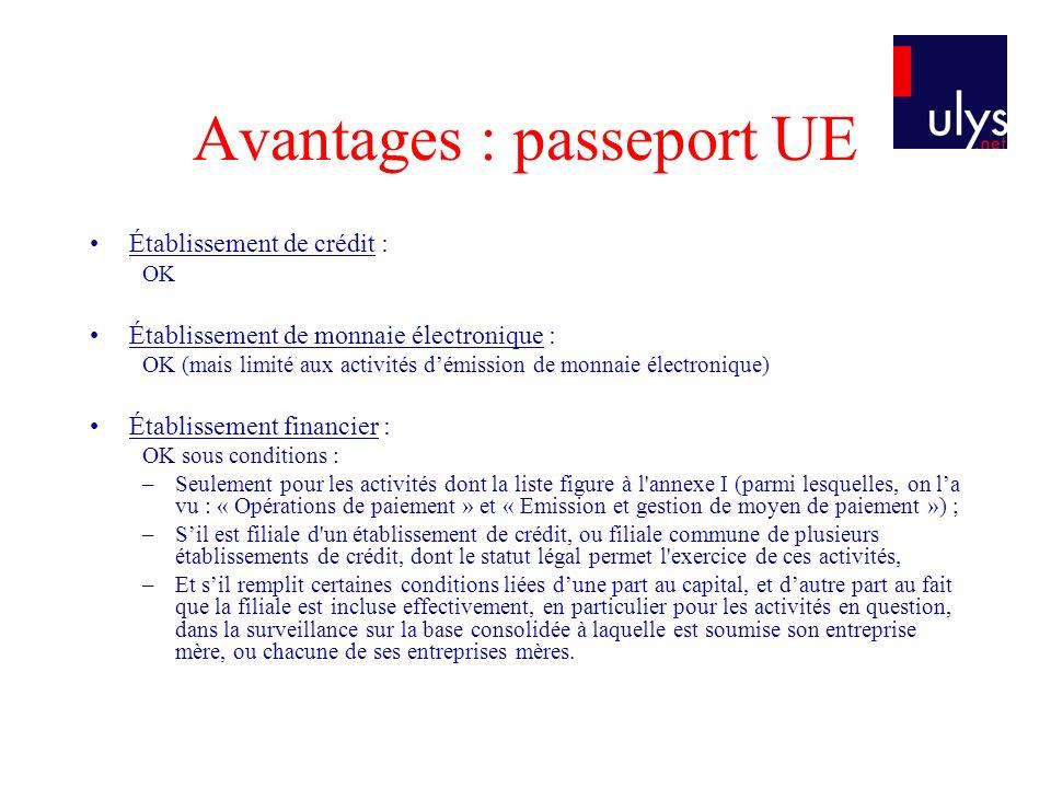Avantages : passeport UE